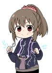 1girl arms_up blue_sweater blush brown_hair cat_shooting_lightning clenched_hand closed_mouth commentary_request hair_ornament hair_scrunchie high_ponytail holding holding_spoon hori_yuuko idolmaster idolmaster_cinderella_girls long_sleeves looking_at_viewer meme moru_(monaka) pink_eyes pink_scrunchie scrunchie short_hair simple_background smile solo spoon sweater v-shaped_eyebrows white_background