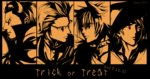 4boys absurdres animal_ears cat_ears collar final_fantasy final_fantasy_xv freckles gladiolus_amicitia halloween high_contrast highres horns ignis_scientia male_focus multiple_boys nekonii noctis_lucis_caelum orange_theme prompto_argentum red_eyes slit_pupils spiked_collar spikes