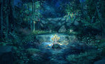 charm_(object) grass highres jirachi leaf legendary_pokemon looking_at_viewer nature night night_sky no_humans outdoors pippi_(pixiv_1922055) pokemon pokemon_(creature) pond rock sky star_(sky) starry_sky tree water