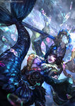 1girl cglas gem headpiece highres league_of_legends mermaid monster_girl nami_(league_of_legends) outstretched_hand pearl scales solo staff underwater watermark web_address