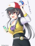 1girl alternate_costume baseball_cap black_hair breasts brown_eyes cellphone cleavage commentary cosplay female_protagonist_(pokemon_go) female_protagonist_(pokemon_go)_(cosplay) great_ball hair_between_eyes hand_up haruna_(kantai_collection) hat holding holding_poke_ball kantai_collection long_hair medium_breasts natsuya_(pucelle) open_mouth phone poke_ball pokemon pokemon_(game) pokemon_go smartphone solo translated twitter_username