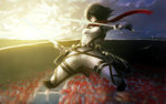 1girl amrrr belt black_hair cloud dual_wielding highres holding holding_weapon mikasa_ackerman outdoors scarf scenery shingeki_no_kyojin sky solo sun sword thigh_strap three-dimensional_maneuver_gear twilight uniform weapon