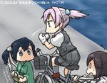 3girls bicycle bicycle_basket blank_eyes blue_eyes blue_hair brown_hair cellphone commentary_request dated empty_eyes gloves green_eyes ground_vehicle hair_bobbles hair_ornament hair_ribbon hamu_koutarou hayasui_(kantai_collection) headband jacket japanese_clothes kantai_collection kimono multiple_girls neck_ribbon phone pleated_skirt ponytail purple_hair red_ribbon ribbon riding shiranui_(kantai_collection) shirt short_hair short_ponytail skirt smartphone solid_oval_eyes souryuu_(kantai_collection) track_jacket twintails vest white_gloves white_shirt