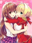 2girls ahoge blonde_hair blush bow braid breast_press breasts brown_eyes brown_hair dress epaulettes fate/extra fate_(series) green_eyes hair_intakes heart heart_background hug kishinami_hakuno_(female) long_hair long_sleeves multiple_girls nero_claudius_(fate) nero_claudius_(fate)_(all) one_eye_closed open_mouth plaid plaid_skirt pleated_skirt red_bow red_dress sasorigatame skirt sleeveless smile symmetrical_docking
