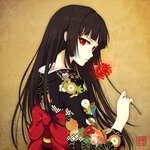 1girl black_hair enma_ai floral_print flower hime_cut japanese_clothes jigoku_shoujo kimono kimono_pull long_hair long_sleeves looking_at_viewer obi red_eyes rin_yuu sash solo spider_lily very_long_hair wide_sleeves