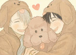 2boys ^_^ animal_hood black_hair closed_eyes dog dog_hood heart hood hoodie hug jewelry katsuki_yuuri makkachin male_focus multiple_boys nita_(msre27) open_mouth ring silver_hair smile viktor_nikiforov yuri!!!_on_ice