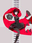 1girl black_dress boots bullet cape corset cross dress flower frilled_boots frilled_skirt frills pantyhose red_hair rose ruby_rose rwby silver_eyes skirt solo