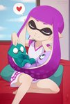 1girl artist_name baby bangs barefoot blunt_bangs chin_rest closed_eyes couch day domino_mask dress hand_on_another's_head heart highres indoors inkling long_hair looking_at_another mask merunyaa pointy_ears purple_hair short_dress sitting smile speech_bubble splatoon_(series) spoken_heart tentacle_hair window