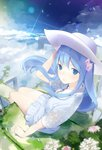 1girl ama_mitsuki bangs blue_eyes blue_hair blue_sky blush closed_mouth cloud cloudy_sky commentary_request day dress emori_miku emori_miku_project eyebrows_visible_through_hair flower frilled_dress frills from_above grass hair_flower hair_ornament hat highres long_hair looking_at_viewer looking_up outdoors short_sleeves sitting sky solo very_long_hair white_dress white_headwear