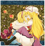 2girls alice_margatroid black_boots blonde_hair blue_dress blue_eyes boots breasts brown_boots capelet closed_eyes couple dress ears faech forehead-to-forehead hat hat_ribbon headband heart kneeling long_hair long_legs long_sleeves looking_at_another mob_cap multiple_girls outline patterned_background petals ribbon short_hair sitting smile tabard tagme teeth tongue touhou white_dress yakumo_yukari yuri