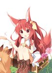 1girl :d animal animal_ears bangs bare_arms blush boots bow brown_footwear brown_shirt cat_teaser cattail commentary_request cross-laced_footwear eyebrows_visible_through_hair fang fox fox_ears fox_girl fox_tail hair_between_eyes hair_ribbon hand_on_own_knee highres kushida_you lace-up_boots looking_away open_mouth original pink_flower plant red_eyes red_hair ribbon sailor_collar shirt sitting sitting_on_object skirt sleeveless sleeveless_shirt smile solo suitcase tail white_background white_bow white_sailor_collar white_skirt yellow_ribbon