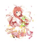1girl ;q animal_ears bangs blush bow brown_footwear brown_hair bunny_ears closed_mouth commentary_request dated deyui eyebrows_visible_through_hair fake_animal_ears flower full_body gochuumon_wa_usagi_desu_ka? hair_between_eyes hair_flower hair_ornament hairband happy_birthday highres hoto_mocha long_hair mary_janes object_hug one_eye_closed petals pink_flower pointing pointing_at_viewer puffy_short_sleeves puffy_sleeves purple_eyes purple_flower red_bow red_ribbon ribbon shirt shoes short_sleeves simple_background skirt smile solo sparkle striped striped_bow striped_ribbon stuffed_animal stuffed_bunny stuffed_toy tongue tongue_out very_long_hair white_background white_flower white_hairband white_shirt white_skirt yellow_flower