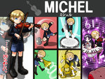 1boy 1girl black_hair blonde_hair blue_eyes candle chandelier character_name chloe_ardenne chloe_no_requiem commentary_request drum drumsticks final_smash hammer highres instrument kirby michel_d'alembert musical_note piano purple_eyes shan_grila sleeping sound_wave super_smash_bros. translated trombone violin yellow_eyes