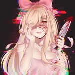 1girl absurdres album_cover blonde_hair blood bloody_weapon blush bow breasts brown_eyes commentary cover digital_dissolve eyebrows_visible_through_hair fingernails hair_bow hand_on_own_face highres holding holding_knife kanachirou knife large_breasts long_hair looking_at_viewer original parted_lips pink_bow smile solo upper_body weapon yandere yandere_trance