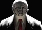 1boy 20th_century_boys artist_request formal male_focus mask necktie realistic solo suit tomodachi