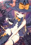 1girl :p abigail_williams_(fate/grand_order) absurdres ass_visible_through_thighs asymmetrical_legwear bangs black_bow black_hat black_legwear black_panties blonde_hair blush bow closed_mouth commentary_request eyebrows_visible_through_hair fate/grand_order fate_(series) groin hat hat_bow highres holding holding_key key keyhole long_hair looking_at_viewer navel orange_bow oversized_object panties parted_bangs red_eyes revealing_clothes single_thighhigh skull_print solo stuffed_animal stuffed_toy suction_cups teddy_bear tentacles thiana0225 thighhighs tongue tongue_out topless underwear very_long_hair witch_hat