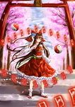 1girl absurdres aluleilan bow brown_eyes brown_hair cherry_blossoms detached_sleeves flower frilled_skirt frills hair_bow hair_flower hair_ornament hakurei_reimu highres long_hair ofuda orb ribbon-trimmed_sleeves ribbon_trim sandals skirt tabi torii touhou very_long_hair wide_sleeves yin_yang