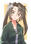 brown_hair commentary_request green_hair jacket kantai_collection long_hair long_sleeves open_clothes open_jacket track_jacket twintails yellow_eyes yuugen_no_tei zuikaku_(kantai_collection)