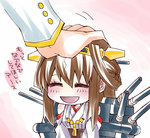 1boy 1girl admiral_(kantai_collection) ahoge bad_id bare_shoulders brown_hair detached_sleeves double_bun hairband headgear japanese_clothes kantai_collection kongou_(kantai_collection) long_hair ninomae nontraditional_miko petting solo_focus translated