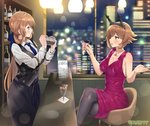 2girls arm_up armband bar black_legwear black_skirt black_vest blush breasts brown_hair city_lights cityscape cleavage collarbone collared_shirt commission counter crossed_legs crossover cup dress drinking drinking_glass flipped_hair frilled_dress frills girls_frontline green_eyes headgear heart_lock_(kantai_collection) highres indoors jewelry kantai_collection large_breasts long_hair long_skirt long_sleeves looking_at_another m1903_springfield_(girls_frontline) multiple_girls mutsu_(kantai_collection) necklace night open_mouth pantyhose pencil_skirt ponytail purple_dress ring shaking shiny shiny_hair shirt short_hair sideboob sidelocks sitting skirt sleeveless sleeveless_dress soushou_nin standing stool vest wedding_band white_shirt window