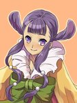 1girl commentary_request double_bun dress hair_ornament japanese_clothes kanikame long_hair looking_at_viewer princess_rei purple_eyes purple_hair ribbon saga saga_frontier smile solo twintails