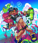 1boy 1girl bike_shorts biting dark_skin domino_mask fangs futa_with_male futanari goggles goggles_on_head green_eyes green_hair inkling little_penis mask paint_splatter penis pink_eyes pink_hair restrained sex shoes shorts shorts_pull sneakers splatoon super_soaker sweat t-shirt tears tentacle_hair