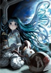 1girl blue_eyes blue_hair copyright_request floating_hair helmet highres kneeling long_hair planet reflection ribbon solo space spacesuit very_long_hair yasu_sakana zero_gravity