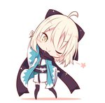 1girl ;) ahoge arm_up bangs beni_shake black_bow black_legwear black_scarf blonde_hair blush_stickers bow chibi closed_mouth commentary_request eyebrows_visible_through_hair fate/grand_order fate_(series) full_body hair_between_eyes hair_bow haori head_tilt japanese_clothes kimono koha-ace long_sleeves looking_at_viewer lowres obi okita_souji_(fate) one_eye_closed sash scarf short_kimono smile solo standing star thighhighs white_background white_kimono wide_sleeves yellow_eyes
