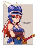 1girl armlet armor bangs bare_shoulders black_eyes blue_armor blue_helmet breasts brown_gloves cleavage collarbone copyright_name crossed_arms daisy_(dq) dragon_quest dragon_quest_yuusha_abel_densetsu eyebrows_visible_through_hair eyes_visible_through_hair gloves hair_between_eyes helmet horned_helmet horns long_hair mawaru_(mawaru) medium_breasts one_eye_closed red_hair smile solo straight_hair sword v-shaped_eyebrows weapon
