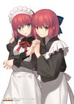 2girls apron black_shirt blue_bow blue_eyes blush bow brown_eyes eyebrows_visible_through_hair hair_between_eyes hair_bow half_updo highres hisui holding_hands interlocked_fingers juliet_sleeves kohaku long_sleeves looking_at_viewer maid maid_headdress multiple_girls neck_ribbon not_for_sale open_mouth puffy_sleeves red_hair red_ribbon ribbon shirt short_hair siblings simple_background sisters smile standing takeuchi_takashi tsukihime twins wa_maid white_apron white_background