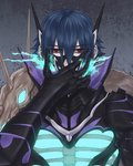 1boy armor blue_hair fire_emblem fire_emblem_heroes gauntlets lif_(fire_emblem) looking_at_viewer mask mask_pull red_eyes solo