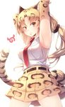 1girl absurdres animal_ear_fluff animal_ears animal_print armpits bare_shoulders belt blonde_hair blush clouded_leopard_(kemono_friends) collared_shirt commentary_request cowboy_shot elbow_gloves eyebrows_visible_through_hair gloves hair_ornament hair_scrunchie high-waist_skirt highres kanzakietc kemono_friends leopard_ears leopard_print leopard_tail long_hair necktie pleated_skirt print_gloves print_skirt red_neckwear scrunchie shirt skirt sleeveless solo tail yellow_eyes