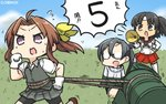 3girls >:o ahoge amagiri_(kantai_collection) barrel bike_shorts black_hair blue_sky brown_eyes brown_hair commentary_request dated day detached_sleeves glasses gloves hairband hamu_koutarou hand_on_hip highres kagerou_(kantai_collection) kantai_collection megaphone multiple_girls nagara_(kantai_collection) pleated_skirt ponytail purple_eyes running side_ponytail skirt sky twintails vest white_gloves