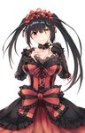 1girl absurdres asymmetrical_hair bare_shoulders black_collar black_sleeves blush bow breasts cleavage clock_eyes collar cowboy_shot date_a_live detached_collar detached_sleeves dress finger_to_cheek frilled_bow frilled_collar frilled_dress frilled_hairband frilled_sleeves frills gothic_lolita grin hair_between_eyes hairband hand_on_own_chest heterochromia highres large_breasts layered_dress lolita_fashion lolita_hairband looking_at_viewer multicolored multicolored_clothes multicolored_dress red_dress red_eyes simple_background smile solo symbol-shaped_pupils tokisaki_kurumi twintails white_background yellow_eyes zhi_jiyang