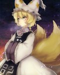 1girl blonde_hair commentary_request dress expressionless fox_tail frilled_sleeves frills hands_in_opposite_sleeves hat highres long_sleeves multiple_tails ofuda pillow_hat sakuratsuki short_hair silver_eyes tabard tail touhou white_dress yakumo_ran