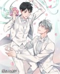 2boys artist_name black_hair blue_eyes bouquet bow bowtie brown_eyes couple flower formal gearous husband_and_husband jewelry katsuki_yuuri male_focus multiple_boys necktie petals ring silver_hair smile suit tuxedo viktor_nikiforov wedding white_suit yaoi yuri!!!_on_ice