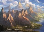 alayna_danner artist_name blue_sky cloud cloudy_sky commentary day english_commentary forest highres landscape magic:_the_gathering mountain nature no_humans ocean official_art river scenery sky valley watermark