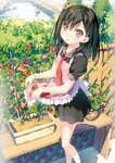 1girl :d absurdres apron black_hair blush cherry_tomato detexted food fruit garden highres huge_filesize kantoku necktie one_side_up open_mouth original plaid plant potted_plant purple_eyes scrunchie shizuku_(kantoku) short_hair skirt_basket smile solo tomato