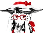 1girl adjusting_eyewear bangs blunt_bangs buttons collared_shirt commentary_request fingernails glasses hair_ribbon hands_up hat hat_ribbon horned_girl_(jaco) horns jaco long_hair looking_at_viewer monochrome original red-framed_eyewear red_eyes red_ribbon ribbon shirt sidelocks simple_background solo spot_color straw_hat upper_body white_background