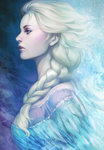 1girl blonde_hair braid breasts dress elsa_(frozen) eyeshadow from_side frozen_(disney) hair_over_shoulder highres lips makeup profile revision single_braid small_breasts solo stanley_lau upper_body
