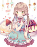 1girl :o bangs blue_dress blush cake commentary_request dress eyebrows_visible_through_hair food food_print frilled_dress frills fruit green_eyes hair_between_eyes hair_ribbon hand_on_own_chest heart highres light_brown_hair long_hair low_twintails original parted_lips print_dress puffy_short_sleeves puffy_sleeves red_ribbon ribbon short_sleeves slice_of_cake solo strawberry strawberry_print strawberry_shortcake tsuruse twintails very_long_hair white_background