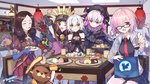 5girls :d :t ;d ^_^ animal arm_up artist_name bag bangs bare_shoulders bear beret black-framed_eyewear black_bow black_dress black_gloves black_hat black_shirt blue_gloves blush bow braid breasts brown_capelet brown_eyes brown_hair brown_skirt chacha_(fate/grand_order) chair closed_eyes closed_mouth collarbone collared_dress commentary_request creature dated detached_sleeves dress eating elbow_gloves eyebrows_visible_through_hair fate/extra fate/grand_order fate_(series) feeding fingerless_gloves fingernails food food_request fork fou_(fate/grand_order) fujimaru_ritsuka_(female) glasses gloves gothic_lolita green_eyes grey_jacket hair_between_eyes hair_bow hair_over_one_eye hand_on_another's_shoulder hat highres holding holding_fork holding_knife holding_plate hood hood_down hooded_jacket indoors jack_the_ripper_(fate/apocrypha) jacket knife lantern leonardo_da_vinci_(fate/grand_order) lolita_fashion long_hair long_sleeves low_twintails mash_kyrielight medium_breasts multiple_girls necktie no_legwear nursery_rhyme_(fate/extra) one_eye_closed open_clothes open_jacket open_mouth orion_(fate/grand_order) out_of_frame paper_lantern pink_eyes pink_hair plate pleated_dress pleated_skirt puff_and_slash_sleeves puffy_sleeves purple_eyes red_neckwear red_skirt shirt signature silver_hair single_elbow_glove sitting skirt sleeveless sleeveless_shirt small_breasts smile standing star star_print sweets table tsubasa_tsubasa twin_braids twintails very_long_hair wide_sleeves