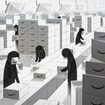 amazon_(company) avogado6 box cardboard_box carrying commentary factory greyscale monochrome original paper silhouette sitting stack tagme translucent working