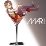 1girl alcohol bad_id bad_pixiv_id black_legwear blue_eyes brown_hair champagne cherry cocktail_glass cup drinking_glass evangelion:_2.0_you_can_(not)_advance food fruit glass glasses hairband hands_on_own_knee in_container in_cup in_food legs lips loafers makinami_mari_illustrious minigirl necktie neon_genesis_evangelion omaru_(cinqtrois) plaid plaid_skirt rebuild_of_evangelion school_uniform shoe_dangle shoes sitting skirt smile solo thighhighs thighs twintails wet wet_clothes