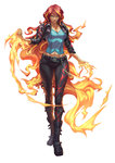 1girl boots buckle chain cropped_jacket fiery_hair fire highres jacket leather leather_jacket long_hair multicolored_hair my_little_pony my_little_pony_equestria_girls pants red_hair smile solo sunset_shimmer very_long_hair zhen_long