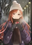 1girl arisugawa_natsuha bangs black_gloves black_scarf box brown_eyes brown_hair closed_mouth floating_hair fur-trimmed_gloves fur_trim gift gift_box gloves hat highres holding holding_box idolmaster idolmaster_shiny_colors long_hair long_sleeves looking_at_viewer mittens outdoors purple_coat scarf smile snow snowing solo standing swept_bangs tranquility_of_nature upper_body valentine very_long_hair white_headwear