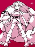 1girl ace_trainer_(pokemon) boots breasts chichibu_(chichichibu) closed_mouth collared_dress dress frown gen_1_pokemon golem_(pokemon) hair_intakes holding_whip legs_apart long_hair medium_breasts npc_trainer poke_ball pokemon pokemon_(creature) pokemon_(game) pokemon_rgby ponytail red_background short_dress short_sleeves solo standing whip
