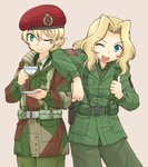 2girls ;d american_flag bangs beige_background belt beret blonde_hair blue_eyes braid british_army brown_shirt camouflage_jacket closed_mouth collared_shirt commentary_request cup darjeeling dress_shirt emblem eyebrows_visible_through_hair girls_und_panzer green_jacket green_neckwear green_pants green_shirt harness hat holding holding_cup holding_saucer jacket kay_(girls_und_panzer) long_hair looking_at_viewer military military_uniform multiple_girls necktie one_eye_closed open_mouth pants pouch red_hat saucer shirt short_hair simple_background smile standing suspenders teacup thumbs_up uniform uona_telepin us_army utility_belt wing_collar