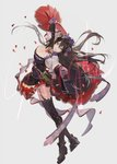 1girl black_gloves black_hair breasts cleavage dress flower gloves granblue_fantasy hair_between_eyes hair_flower hair_ornament high_heels jewelry large_breasts long_hair looking_at_viewer necklace nineo outstretched_arms purple_eyes red_skirt rose rosetta_(granblue_fantasy) skirt smile solo thighhighs watermark