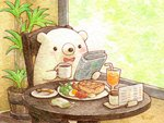 animal artist_name bear blush bow bowtie chair coffee_mug colored_pencil_(medium) cup drinking_glass drinking_straw egg food_request holding_mug holding_newspaper indoors looking_away mug newspaper no_humans original plant plate potted_plant reading red_bow red_neckwear sitting spoon st.kuma table traditional_media watercolor_(medium)